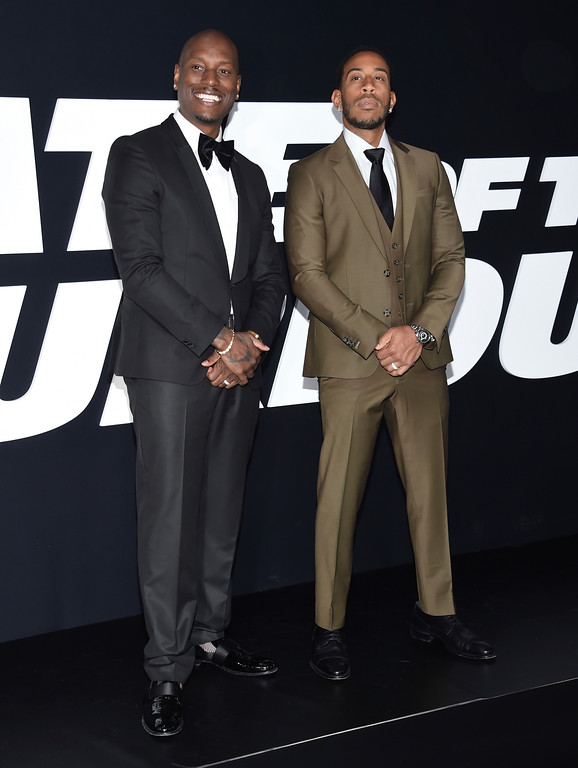 ". Tyrese Gibson, left, and Ludacris attend the world premiere of Universal Pictures\' ""The Fate of the Furious\"" at Radio City Music Hall on Saturday, April 8, 2017, in New York. (Photo by Evan Agostini/Invision/AP)"