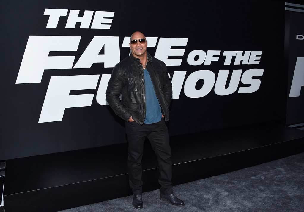 """. Dwayne Johnson attends the world premiere of Universal Pictures\' \""""The Fate of the Furious\"""" at Radio City Music Hall on Saturday, April 8, 2017, in New York. (Photo by Evan Agostini/Invision/AP)"""