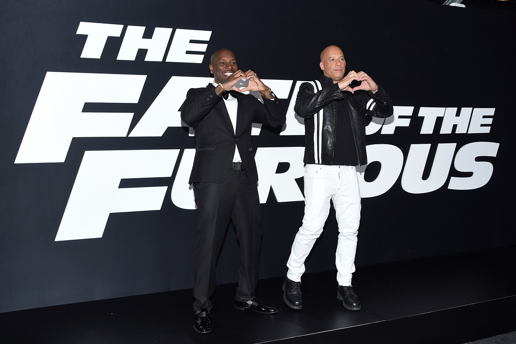""". Tyrese Gibson, left, and Vin Diesel attend the world premiere of Universal Pictures\' \""""The Fate of the Furious\"""" at Radio City Music Hall on Saturday, April 8, 2017, in New York. (Photo by Evan Agostini/Invision/AP)"""