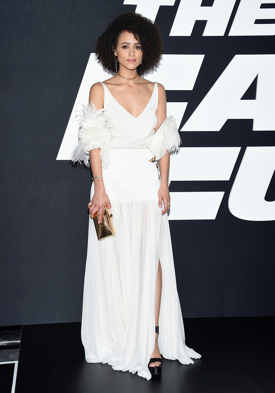 """. Nathalie Emmanuel attends the world premiere of Universal Pictures\' \""""The Fate of the Furious\"""" at Radio City Music Hall on Saturday, April 8, 2017, in New York. (Photo by Evan Agostini/Invision/AP)"""
