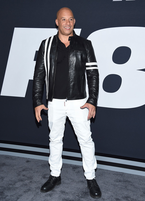 """. Vin Diesel attends the world premiere of Universal Pictures\' \""""The Fate of the Furious\"""" at Radio City Music Hall on Saturday, April 8, 2017, in New York. (Photo by Evan Agostini/Invision/AP)"""