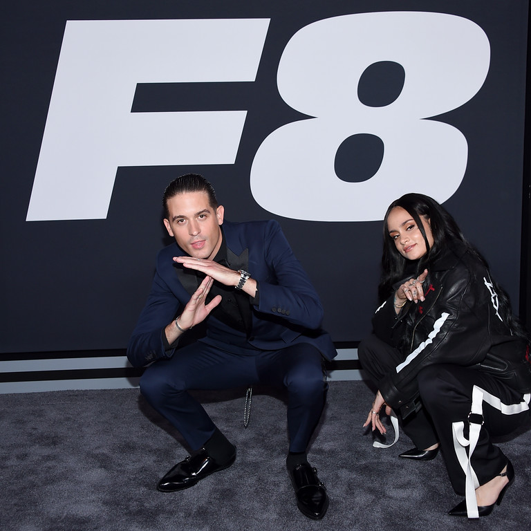 """. NEW YORK, NY - APRIL 08:  Musician G-Eazy and Kehlani attend \""""The Fate Of The Furious\"""" New York Premiere at Radio City Music Hall on April 8, 2017 in New York City.  (Photo by Dimitrios Kambouris/Getty Images)"""