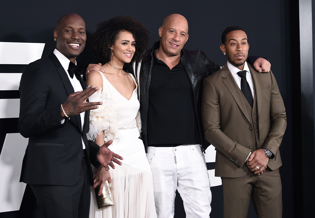 """. Tyrese Gibson, from left, Nathalie Emmanuel, Vin Diesel and Ludacris attend the world premiere of Universal Pictures\' \""""The Fate of the Furious\"""" at Radio City Music Hall on Saturday, April 8, 2017, in New York. (Photo by Evan Agostini/Invision/AP)"""