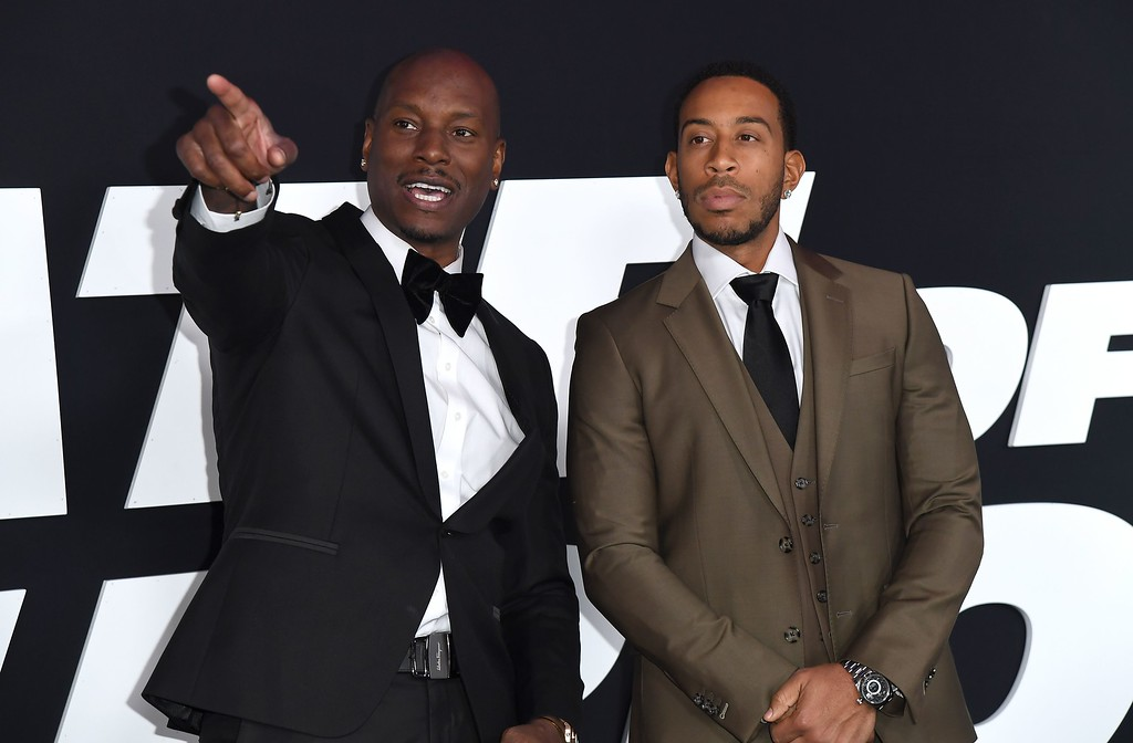 . Actors Tyrese Gibson and Ludacris attend the premiere of Universal Pictures\' \'The Fate Of The Furious\' at Radio City Music Hall on April 8, 2017 in New York City. / AFP PHOTO / ANGELA WEISS        (Photo credit should read ANGELA WEISS/AFP/Getty Images)