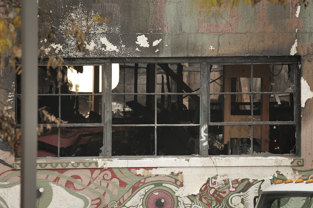 . OAKLAND, CA - DECEMBER 05: The inside of a warehouse where a fire claimed the lives of at least thirty-six people is seen on December 5, 2016 in Oakland, California. The fire took place during a musical event late Friday night. (Photo by Elijah Nouvelage/Getty Images)