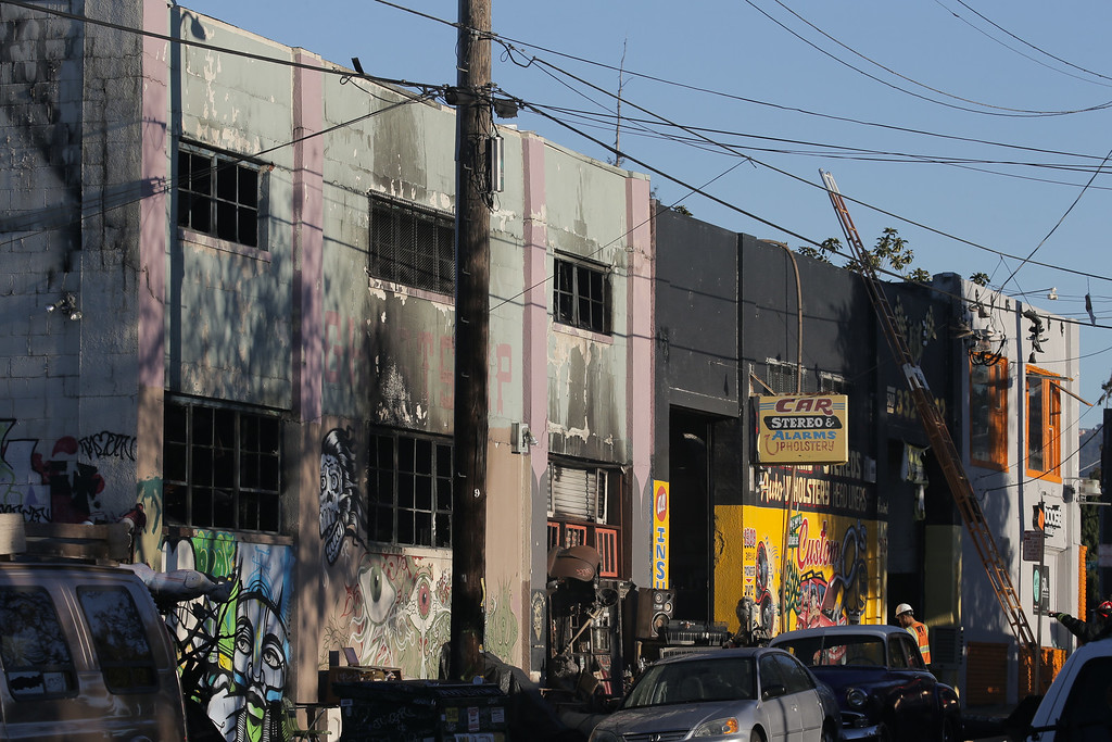 . OAKLAND, CA - DECEMBER 03:  The face of a building that was the scene of a overnight fire that claimed the lives of at least nine people at a warehouse in the Fruitvale neighborhood on December 3, 2016 in Oakland, California. The warehouse was hosting an electronic music party.  (Photo by Elijah Nouvelage/Getty Images)