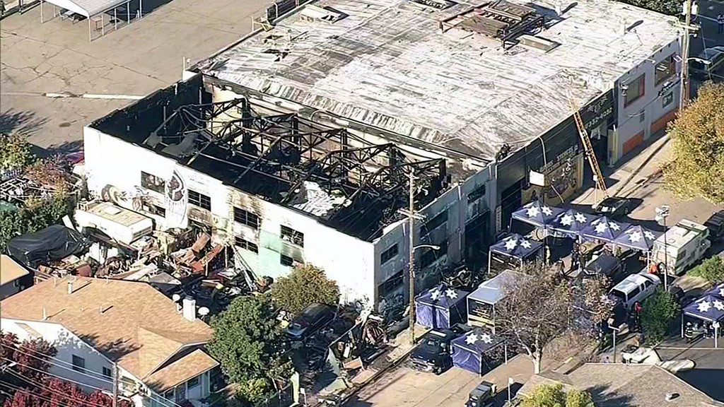 . A screen grab from KGO-TV shows aerial footage of the GhostShip fire in Oakland on Saturday, December 3, 2016. A party in the building has left 30 confirmed dead.