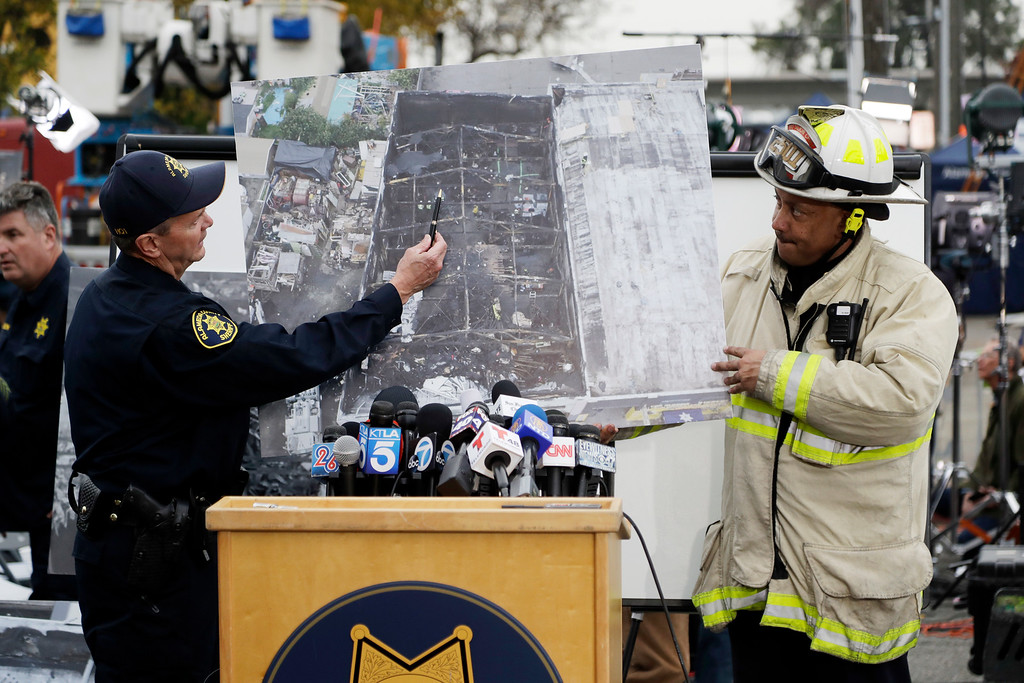 . Alameda County Sheriff Coroner Gregory Ahern and Oakland Fire Battalion Chief Darin White show an aerial view of a warehouse fire Monday, Dec. 5, 2016, in Oakland, Calif. The death toll in the fire climbed Monday with more bodies still feared buried in the blackened ruins, and families anxiously awaited word of their missing loved ones. (AP Photo/Marcio Jose Sanchez)