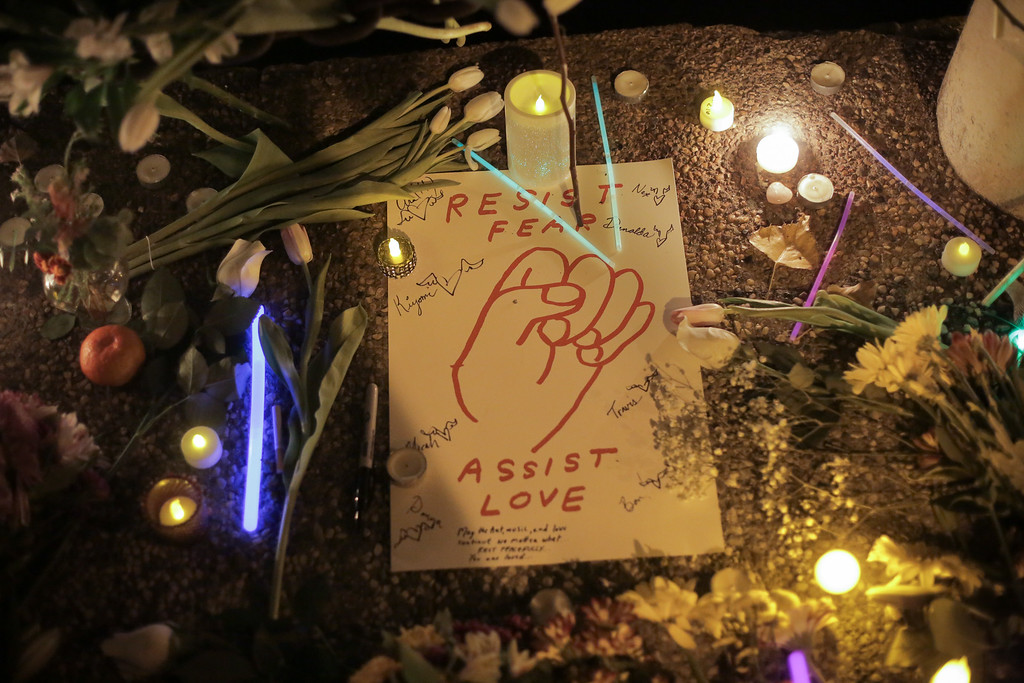 . OAKLAND, CA - DECEMBER 05: A sign is seen at a vigil for the victims of a warehouse fire that has claimed the lives of at least thirty-six people on December 5, 2016 in Oakland, California. The fire took place during a musical event late Friday night. (Photo by Elijah Nouvelage/Getty Images)