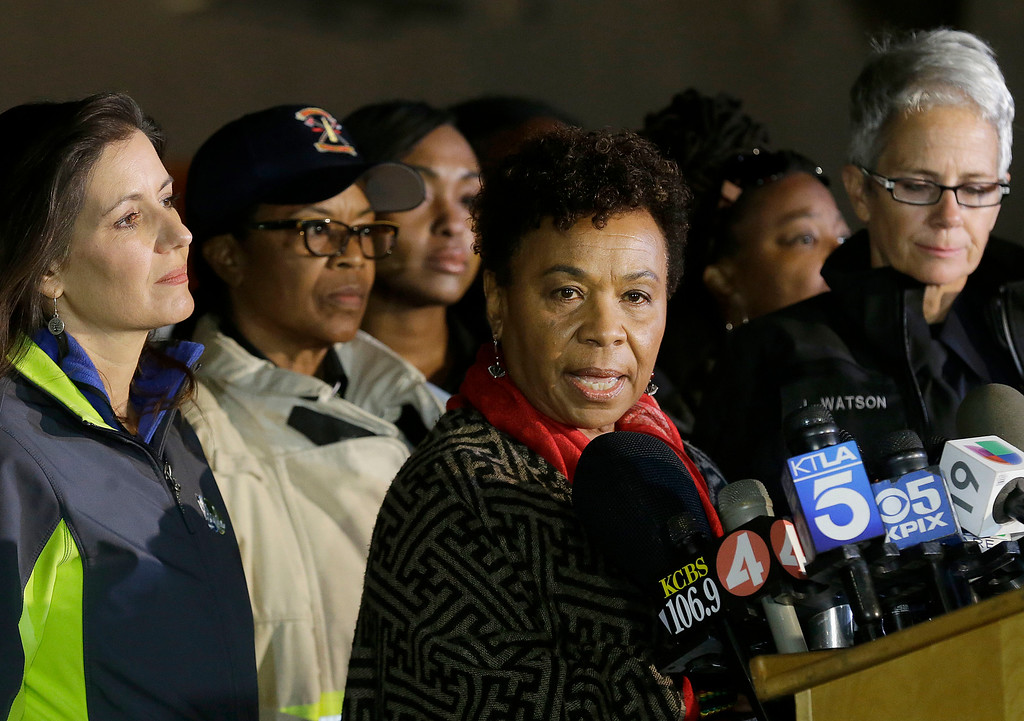 . Congresswoman Barbara Lee speaks at a news conference near the site of a warehouse fire in Oakland, Calif., Tuesday, Dec. 6, 2016. The fire erupted Friday, Dec. 2, killing dozens. (AP Photo/Jeff Chiu)