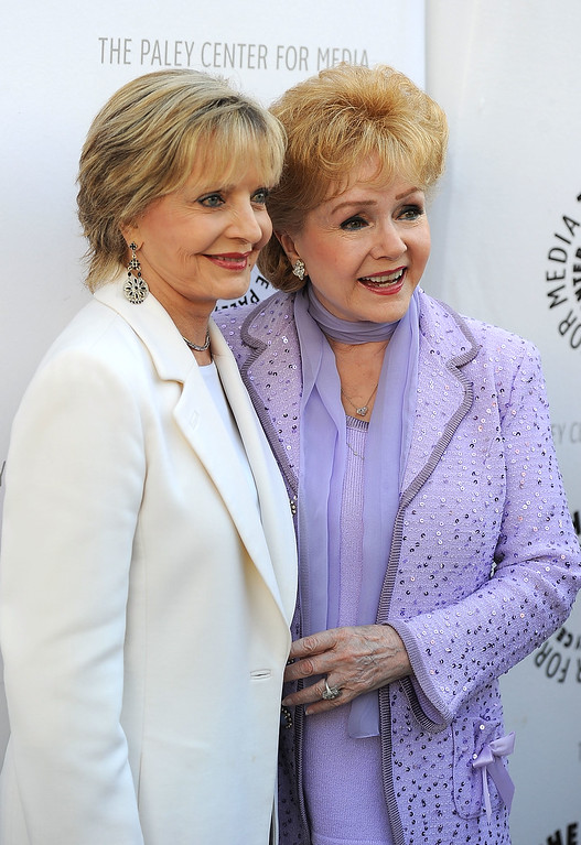 ". BEVERLY HILLS, CA - AUGUST 16: (L-R) Actressess Florence Henderson and Debbie Reynolds arrives at The Paley Center For Media\'s Reception For ""Debbie Reynolds: The Exhibit\"" on August 16, 2011 in Beverly Hills, California.  (Photo by Frazer Harrison/Getty Images)"