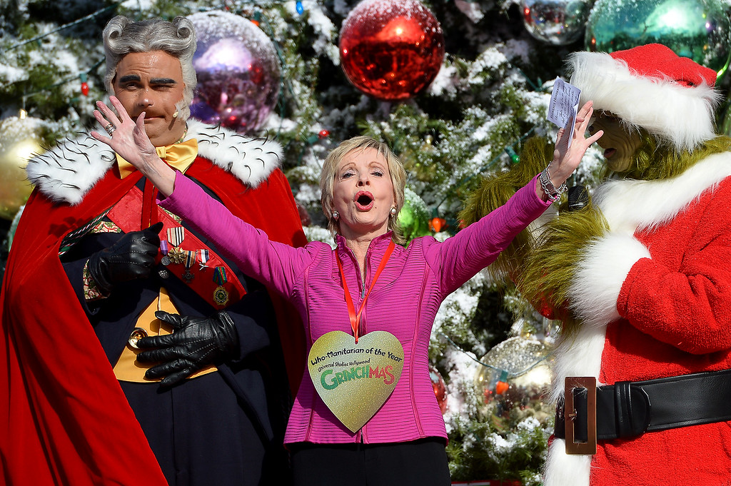 ". Actress Florence Henderson is acknowledged as ""Who-Manitarian of the Year\"" on behalf of her work with the City of Hope during Universal Studios Hollywood\'s kick-off of \'Grinchmas Wholidays,\' Wednesday, November 27, 2013. (Photo by Michael Owen Baker/L.A. Daily News)"