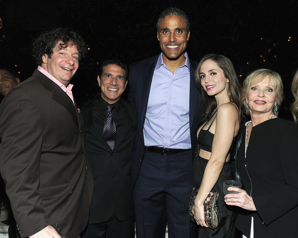 ". LOS ANGELES, CA - NOVEMBER 01:  Comedian Jeffrey Ross, professional dancer Corky Ballas, former NBA player Rick Fox, actress Eliza Dushku and actress Florence Henderson attend ABC\'s ""Dancing With The Stars\"" 200th episode party on November 1, 2010 in Los Angeles, California.  (Photo by Alberto E. Rodriguez/Getty Images)"