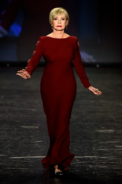 . NEW YORK, NY - FEBRUARY 11:  Actress Florence Henderson walks the runway at The American Heart Association\'s Go Red For Women Red Dress Collection 2016 Presented By Macy\'s at The Arc, Skylight at Moynihan Station on February 11, 2016 in New York City.  (Photo by Frazer Harrison/Getty Images for AHA)