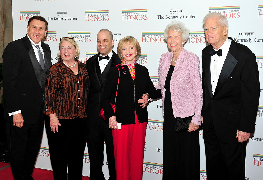. WASHINGTON, DC - DECEMBER 3:  (AFP OUT) (L-R) United States Representative John Mica (Republican of Florida), wife Patricia, Robert Bernstein, Florence Henderson, Marjorie Billington, and James H. Billington, the Librarian of Congress, arrive for the formal Artist\'s Dinner honoring the recipients of the 2011 Kennedy Center Honors hosted by United States Secretary of State Hillary Rodham Clinton at the U.S. Department of State on December 3, 2011 in Washington, DC. President Barack Obama will host the five recipients of the 34th Kennedy Center Honors at a White House reception Sunday before attending the evening gala at the John F. Kennedy Center for the Performing Arts. The 2011 honorees are actress Meryl Streep, singer Neil Diamond, actress Barbara Cook, musician Yo-Yo Ma, and musician Sonny Rollins..(Photo by Ron Sachs-Pool/Getty Images)