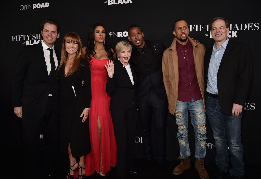 ". LOS ANGELES, CA - JANUARY 26:  Chief Marketing Officer of Open Road Films, Jason Cassidy, actors Jane Seymour, Kali Hawk, Florence Henderson, Marlon Wayans, Affion Crockett and Chief Executive Officer of Open Road Films, Tom Ortengerg attend the premiere of Open Road Films\' ""Fifty Shades of Black\""  at Regal Cinemas L.A. Live on January 26, 2016 in Los Angeles, California.  (Photo by Alberto E. Rodriguez/Getty Images)"