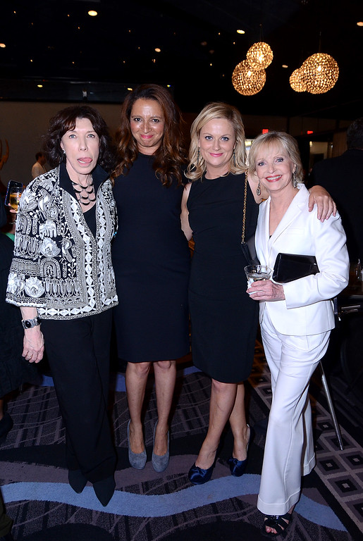. UNIVERSAL CITY, CA - AUGUST 20: (L-R) Television Academy Governor Lily Tomlin and actors Maya Rudolph, Amy Poehler and Florence Henderson attend the Academy of Television Arts & Sciences 2012 Performers Peer Group Reception at the Sheraton Universal Hotel on August 20, 2012 in Universal City, California. (Photo by Tonya Wise/Invision for the Academy of Television Arts & Sciences/AP Images)