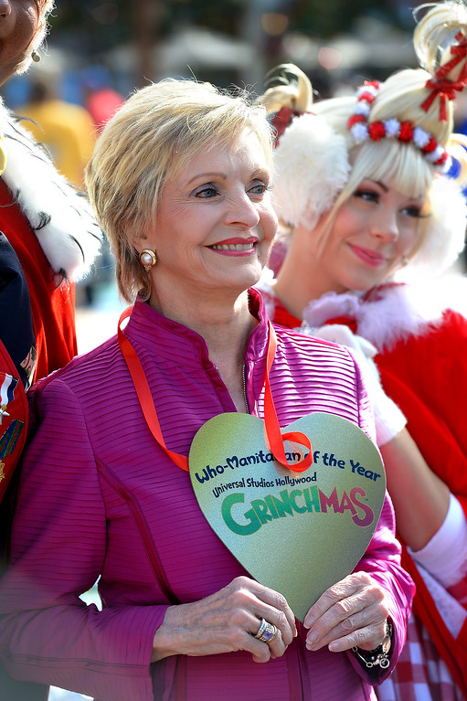 ". Actress Florence Henderson is acknowledged as ""Who-Manitarian of the Year\"" on behalf of her work with the City of Hope as Universal Studios Hollywood kicks off \'Grinchmas Wholidays,\' Wednesday, November 27, 2013. (Photo by Michael Owen Baker/L.A. Daily News)"