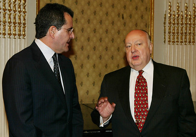 News Corp's President & CEO Peter Chernin (left) and Roger Ailes (Chairman and CEO of Fox News Networks) attends the Centre for Communications Luncheon Honoring Peter Chernin at the Plaza Hotel November 17, 2003 in New York City. (Photo by Mark Mainz/Getty Images)