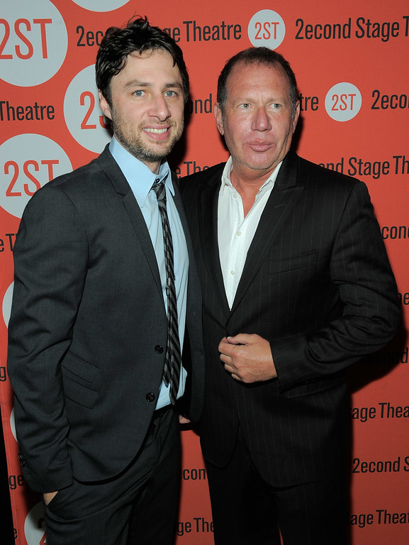 """. Actor/playwright Zach Braff and comedian Garry Shandling attend the \""""All New People\"""" opening night after party at HB Burger on July 25, 2011 in New York City.  (Photo by Jemal Countess/Getty Images)"""
