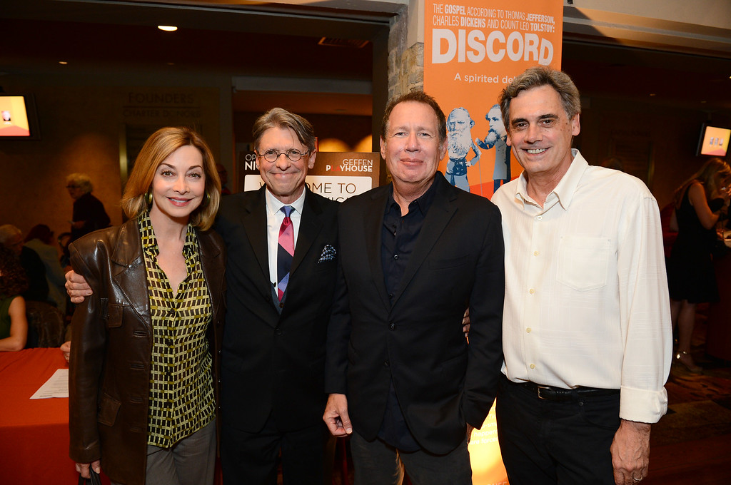 ". From left, Sharon Lawrence, Scott Carter, Garry Shandling and Randall Arney attend the opening night of ""Discord\"" at The Geffen Playhouse on Wednesday, October 15, 2014 in Westwood, Calif. (Photo by Jordan Strauss/Invision for Geffen Playhouse/AP)"