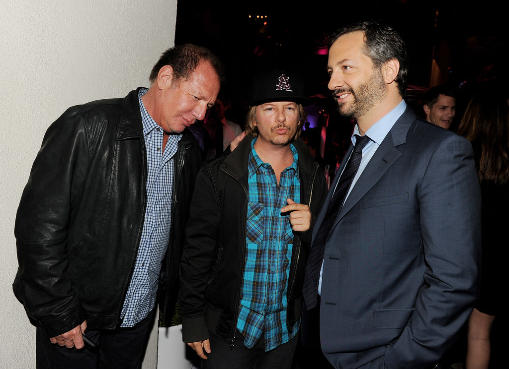 ". (L-R) Actors Garry Shandling, David Spade and producer Judd Apatow talk at the after party for the premiere of Universal Pictures\' ""Bridesmaids\"" at the Hammer Museum on April 28, 2011 in Los Angeles, California.  (Photo by Kevin Winter/Getty Images)"