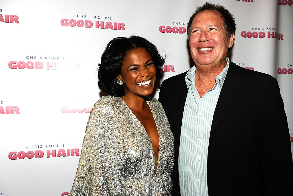 """. Actress Nia Long and actor Garry Shandling arrive at the premiere of Roadside Attractions\' \""""Good Hair\"""" on October 1, 2009 in Westwood, Los Angeles, California.  (Photo by Alberto E. Rodriguez/Getty Images)"""