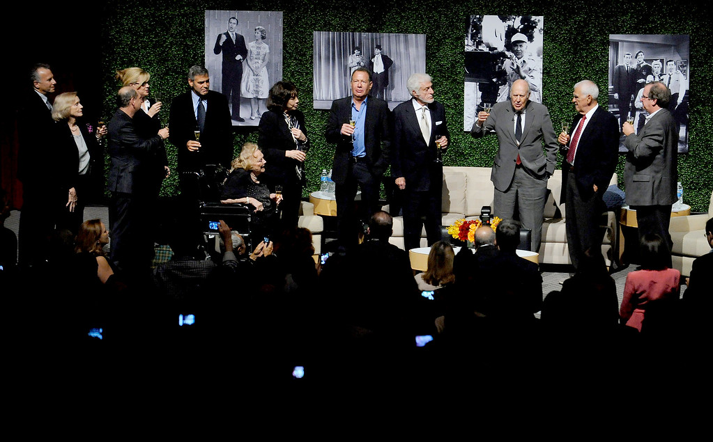 """. (L-R) Actors Paul Reiser, Eva Marie Saint, Bonnie Hunt, Larry Matthews, George Clooney, Rose Marie, Lily Tomlin, Garry Shandling, Dick Van Dyke, honoree Carl Reiner, writer Bill Persky and moderator Pete Hammond onstage at the Academy of Television Arts & Sciences Presents: \""""An Evening Honoring Carl Reiner\"""" at the Leonard H. Goldenson Theatre on October 13, 2011 in North Hollywood, California. (Photo by Phil McCarten/Invision for the Academy of Television Arts & Sciences/AP Images)"""
