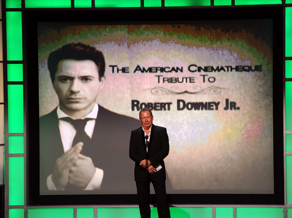 . Actor/comedian Garry Shandling speaks onstage during The 25th American Cinematheque Award Honoring Robert Downey Jr. held at The Beverly Hilton hotel on October 14, 2011 in Beverly Hills, California.  (Photo by Kevin Winter/Getty Images)