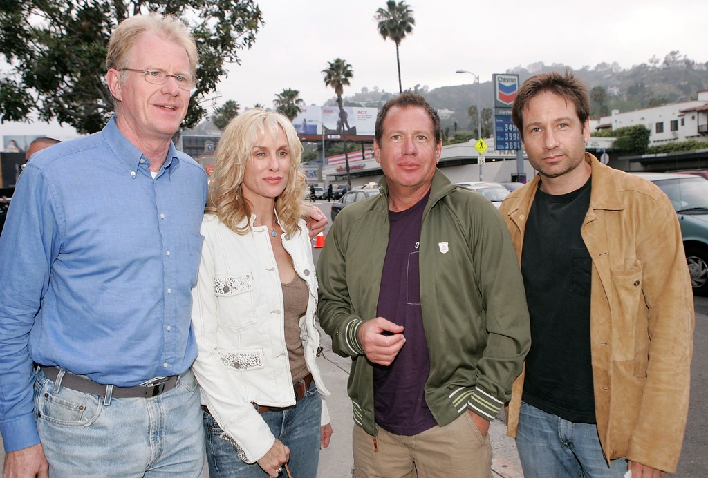 ". (L-R) Actor Ed Begley Jr., wife Rachelle Carson, comedian Garry Shandling and actor David Duchovny arrive at the Los Angeles Premiere Of ""An Inconvenient Truth\"" held at the DGA on May 16, 2006 in Los Angeles, California.  (Photo by Kevin Winter/Getty Images)"