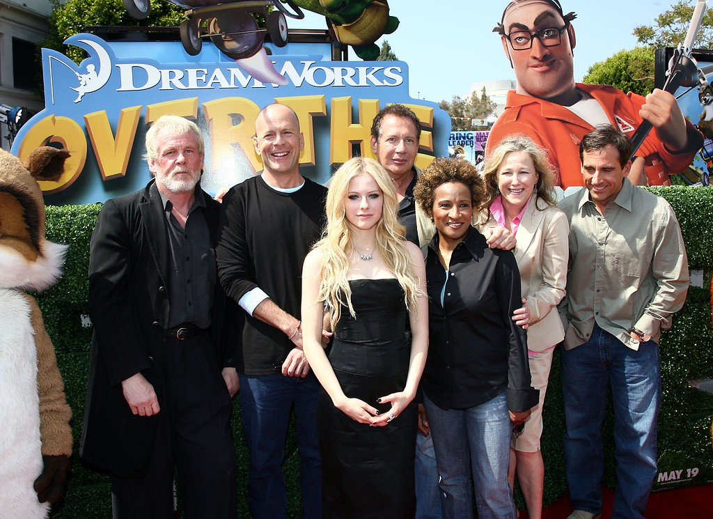". (L to R) Actors Nick Nolte, Bruce Willis, Avril Lavigne, Garry Shandling, Wanda Sykes, Catherine O\'Hara and Steve Carell pose at the premiere of DreamWorks\' ""Over The Hedge\"" at the Village Theater on April 30, 2006 in Los Angeles, California. (Photo by Kevin Winter/Getty Images)"