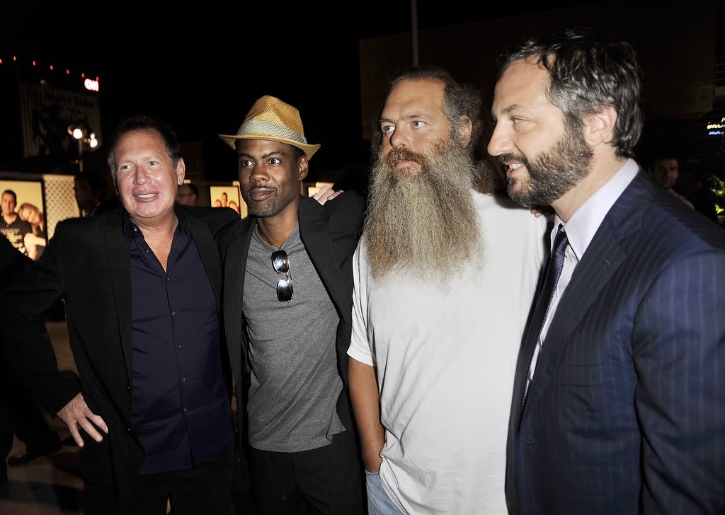 """. (L-R) Comedians Garry Shandling, Chris Rock, music producer Rick Rubin and writer/producer/director Judd Apatow pose at the afterparty for the premiere of Universal Pictures\' \""""Funny People\"""" at the ArcLight Cinemas on July 20, 2009 in Los Angeles, California.  (Photo by Kevin Winter/Getty Images)"""
