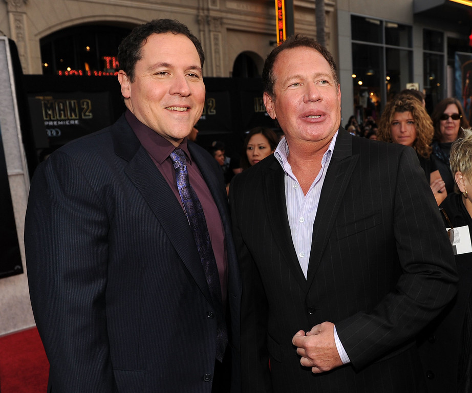 """. Director/executive producer Jon Favreau and actor Garry Shandling arrive at the world premiere of Paramount Pictures and Marvel Entertainment\'s \""""Iron Man 2� held at El Capitan Theatre on April 26, 2010 in Hollywood, California.  (Photo by Kevin Winter/Getty Images)"""