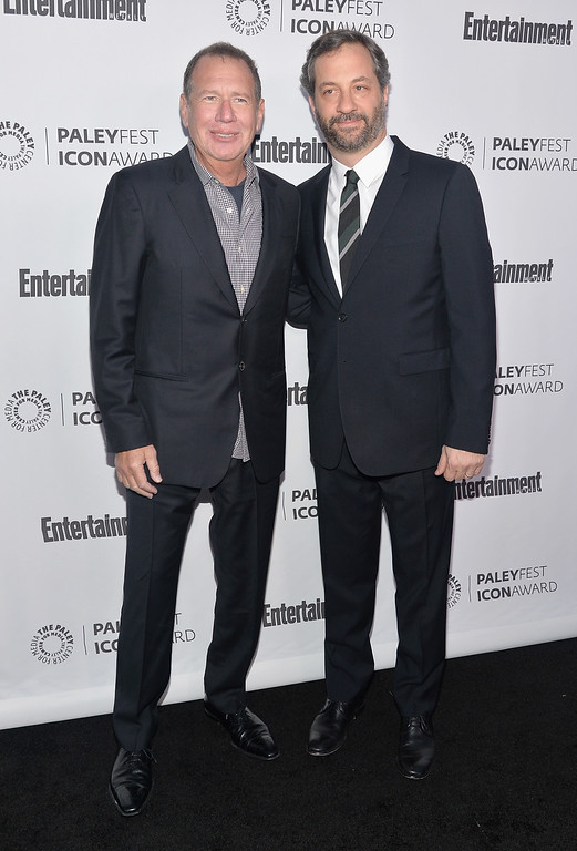 . Actor Garry Shandling and writer Judd Apatow attend The Paley Center For Media\'s 2014 PaleyFest Icon Award announcement at The Paley Center for Media on March 10, 2014 in Beverly Hills, California. Shandling, known for �It�s Garry Shandling�s Show� and �The Larry Sanders Show,� has died, TMZ reported on Thursday, March 24, 2016. He was 66.  (Photo by Alberto E. Rodriguez/Getty Images)