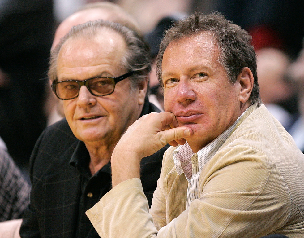 . Actor Jack Nicholson, left, and comedian Garry Shandling watch the Los Angeles Lakers play the Milwaukee Bucks in an NBA basketball game Friday night, March 24, 2006, in Los Angeles.  (AP Photo/Mark J. Terrill)