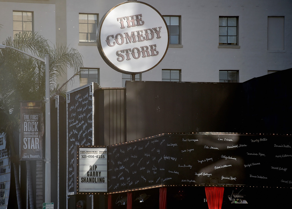 . LOS ANGELES, CA - MARCH 24:  The Comedy Store on Sunset Blvd, Hollywood tribute to actor Garry Shandling who passed away on March 24, 2016 in Los Angeles, California.  (Photo by Frazer Harrison/Getty Images)