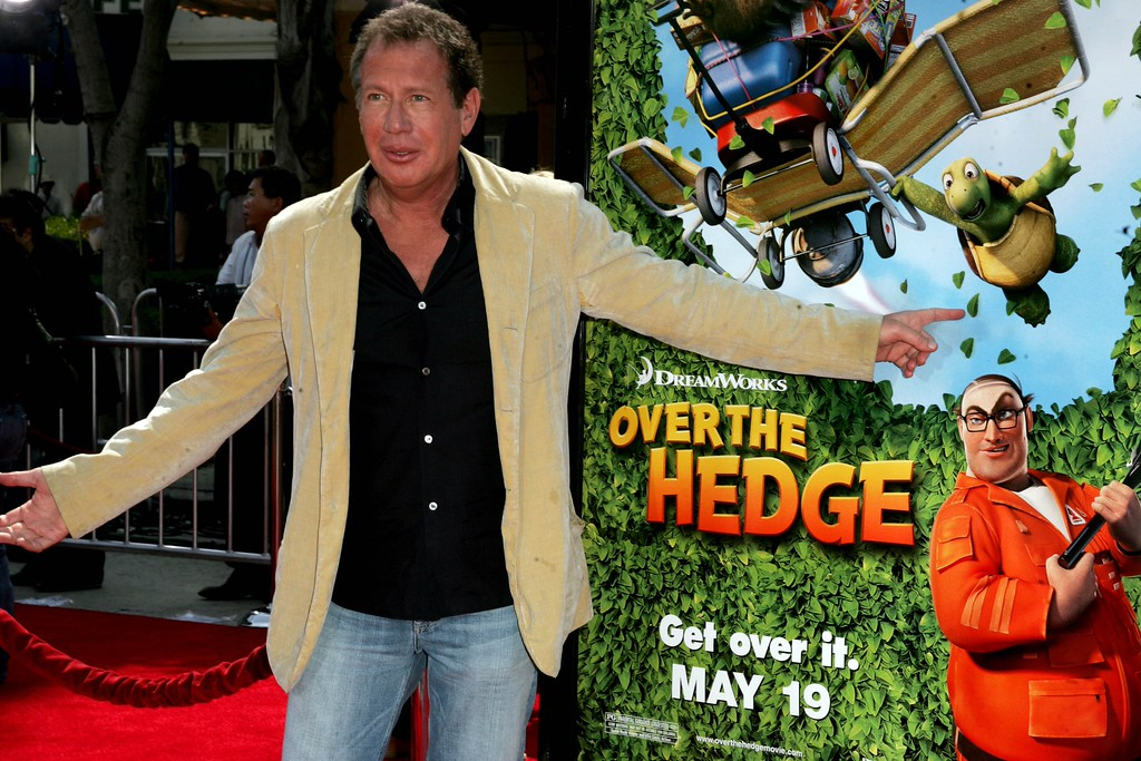 ". Garry Shandling arrives to the premiere of  ""Over the Hedge\"" in Los Angeles, Sunday, April 30, 2006.  Shandling is the voice of Verne in the animated feature.  (AP Photo/Branimir Kvartuc)"