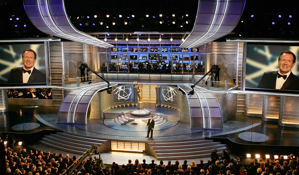 . Host Garry Shandling delivers his opening monologue at the 56th Annual Primetime Emmy Awards Sunday, Sept. 19, 2004, at the Shrine Auditorium in Los Angeles. (AP Photo/Kevork Djansezian)