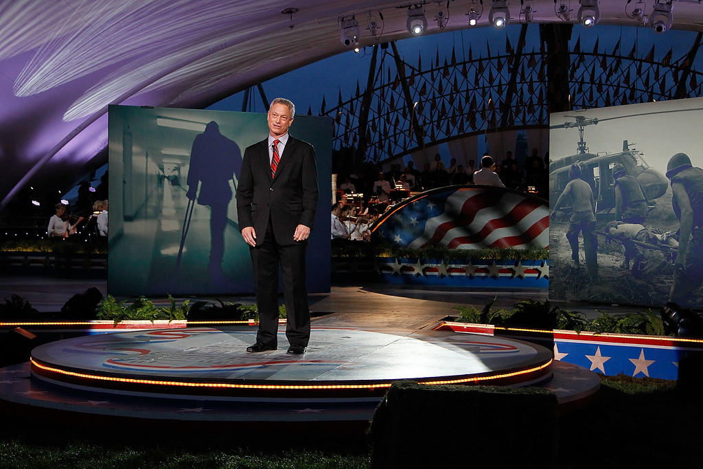 . WASHINGTON, DC - MAY 29:  Actor and co-host Gary Sinise onstage at the 27th National Memorial Day Concert on May 29, 2016 in Washington, DC.  (Photo by Paul Morigi/Getty Images for Capitol Concerts)