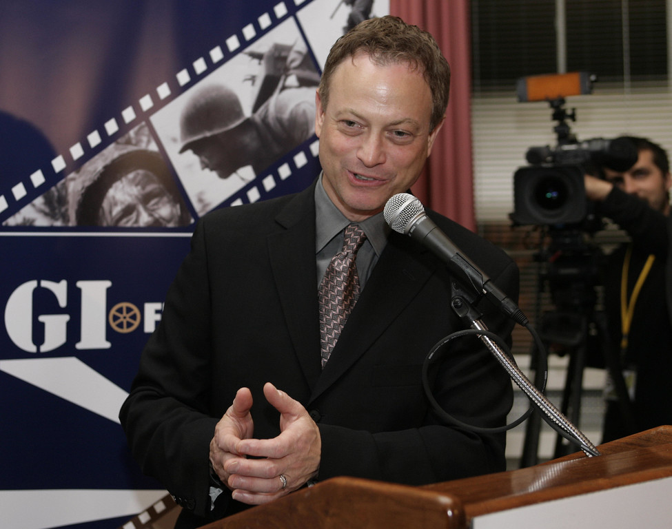 . Actor, director and musician Gary Sinise speaks at The GI Film annual festival in Washington, DC on May 16, 2008. (YURI GRIPAS/AFP/Getty Images)