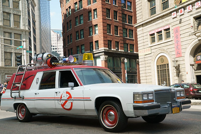 "The Ecto-1 in Columbia Pictures' ""GHOSTBUSTERS.""  (Sony Pictures)"