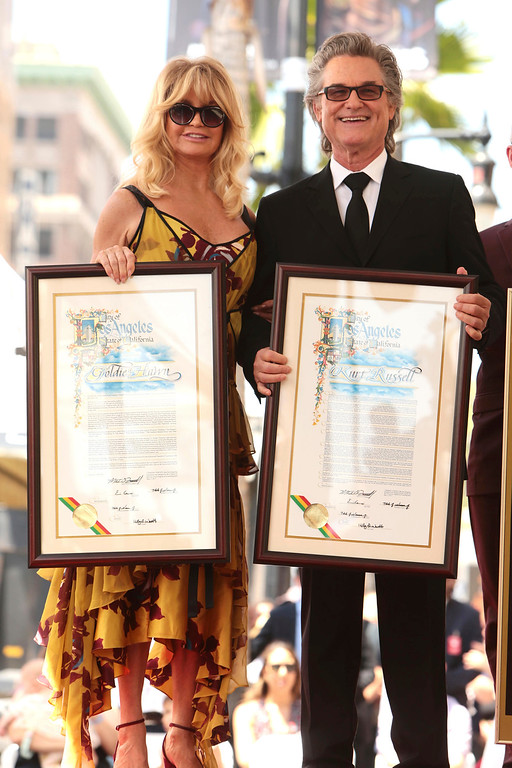 . Kurt Russell and Goldie Hawn seen at ceremony honoring them each with a star on the Hollywood Walk of Fame on Thursday, May 4, 2017, in Los Angeles. (Photo by Eric Charbonneau/Invision for Twentieth Century Fox/AP Images)