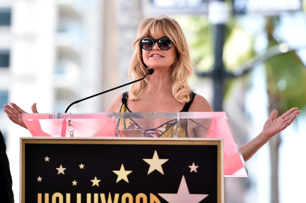 . HOLLYWOOD, CA - MAY 04:  Actor Goldie Hawn speaks onstage as she and Kurt Russell are honored with a double star ceremony on the Hollywood Walk of Fame on May 4, 2017 in Hollywood, California.  (Photo by Alberto E. Rodriguez/Getty Images)