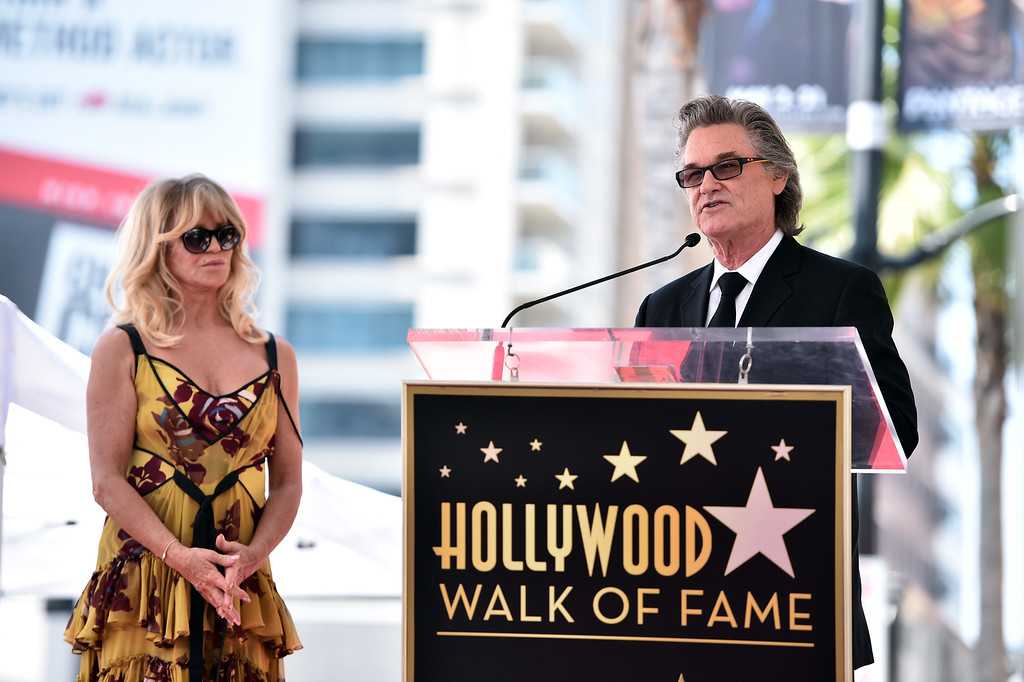 . HOLLYWOOD, CA - MAY 04:  Actors Goldie Hawn (L) and Kurt Russell are honored with a double star ceremony on the Hollywood Walk of Fame on May 4, 2017 in Hollywood, California.  (Photo by Alberto E. Rodriguez/Getty Images)