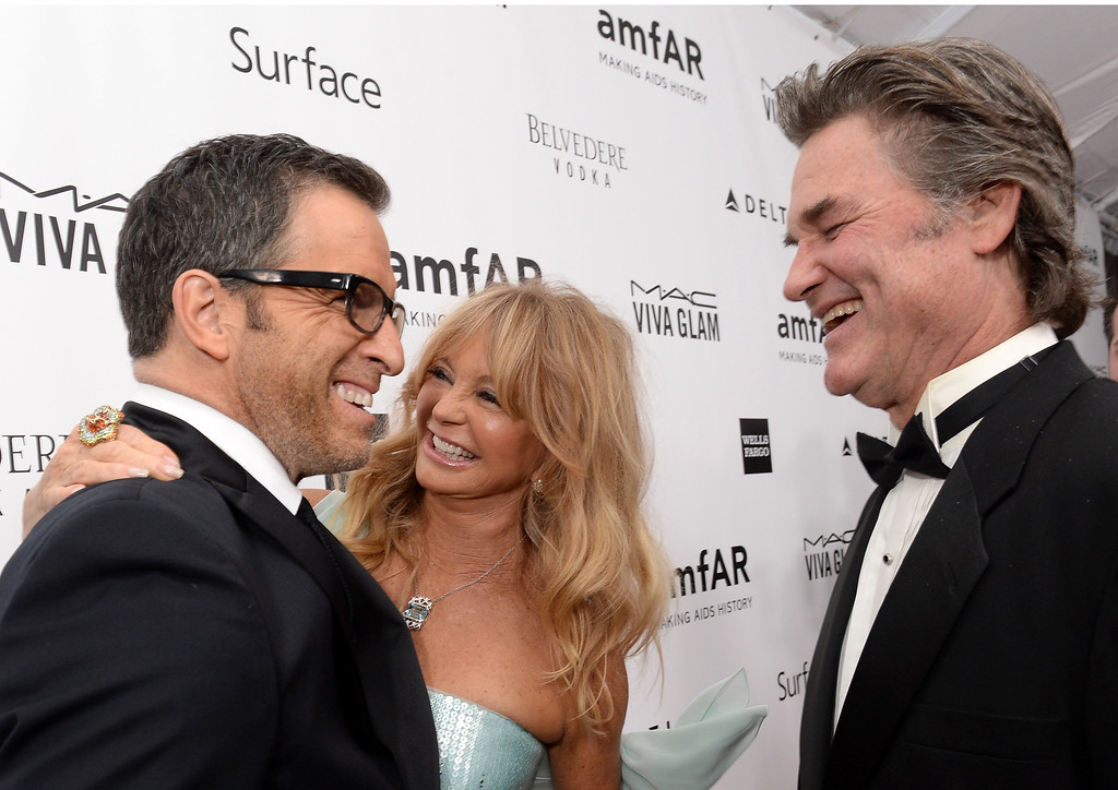 . LOS ANGELES, CA - DECEMBER 12:  (L-R) amfAR Chairman Kenneth Cole, honoree Goldie Hawn and actor Kurt Russell attend the 2013 amfAR Inspiration Gala Los Angeles at Milk Studios on December 12, 2013 in Los Angeles, California.  (Photo by Jason Kempin/Getty Images for amfAR)