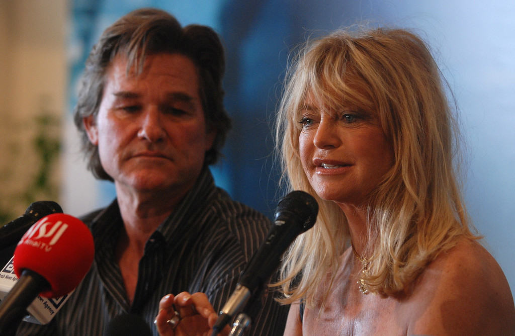 . US actress Goldie Hawn speaks during a joint press conference with her partner Kurt Russell during the 32nd Cairo International Film Festival in the Egyptian capital on November 19, 2008. Arab and international stars are attending the CIFF, the oldest film festival in the Middle East, which will be screening 150 films from 29 countries. (SAMEH SHERIF/AFP/Getty Images)