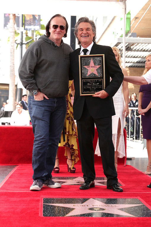 . Quentin Tarantino and Kurt Russell seen at Goldie Hawn and Kurt Russell honored with a double star ceremony on the Hollywood Walk of Fame on Thursday, May 4, 2017, in Los Angeles. (Photo by Eric Charbonneau/Invision for Twentieth Century Fox/AP Images)