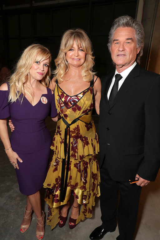 . Reese Witherspoon, Goldie Hawn and Kurt Russell are seen at a double star ceremony honoring Goldie Hawn and Kurt Russell on the Hollywood Walk of Fame on Thursday, May 4, 2017, in Los Angeles. (Photo by Eric Charbonneau/Invision for Twentieth Century Fox/AP Images)