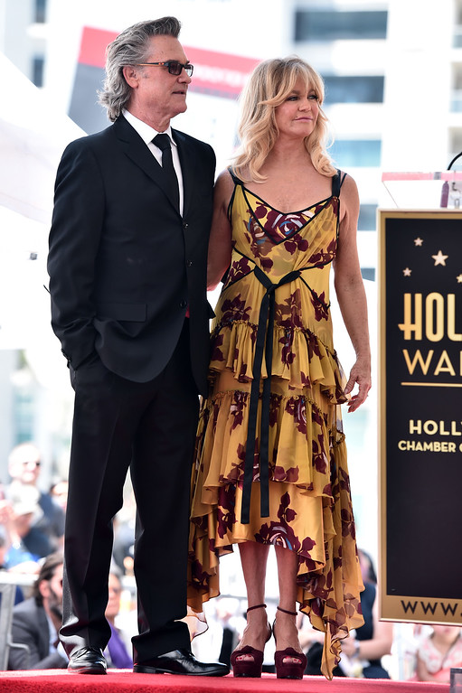 . HOLLYWOOD, CA - MAY 04:  Actors Kurt Russell (L) and Goldie Hawn are honored with a double star ceremony on the Hollywood Walk of Fame on May 4, 2017 in Hollywood, California.  (Photo by Alberto E. Rodriguez/Getty Images)