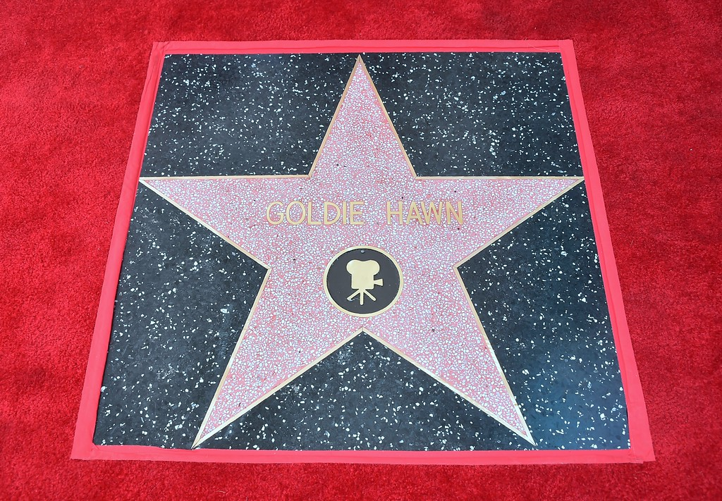 . Goldie Hawn\'s unveiled Star following her and partner Kurt Rusell\'s Walk of Fame Stars ceremony in Hollywood, California on May 4, 2017.  (FREDERIC J. BROWN/AFP/Getty Images)